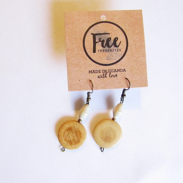 Earrings - White beads & Round wooden piece
