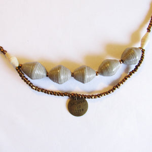 "Necklace - Gray beads & ""Believe in love"" tag"