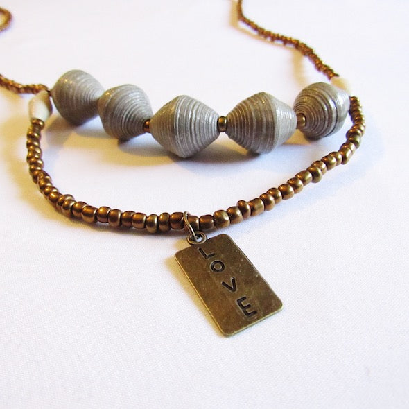 Necklace - Gray beads & Love tag