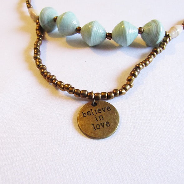 "Necklace - Light green & ""Believe in love"" tag"