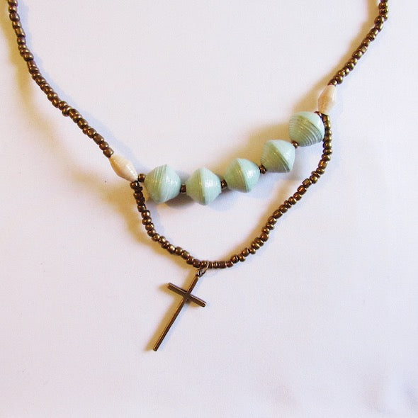 Necklace - Light green beads & Cross tag