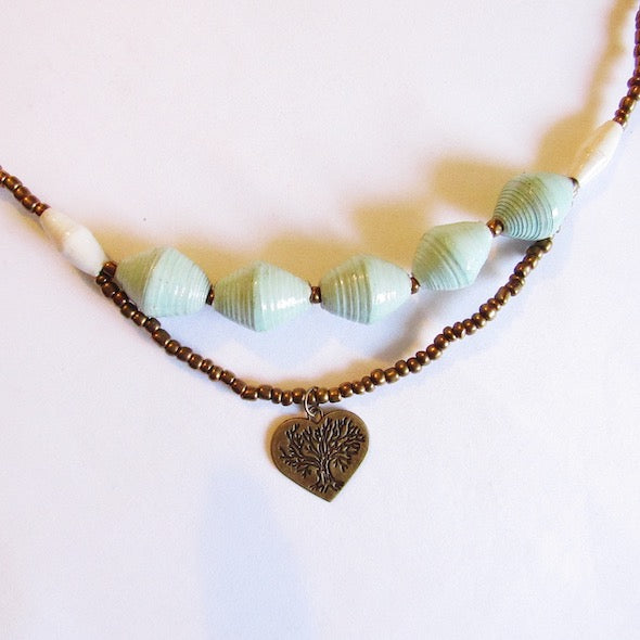 Necklace - Light green & Heart tag