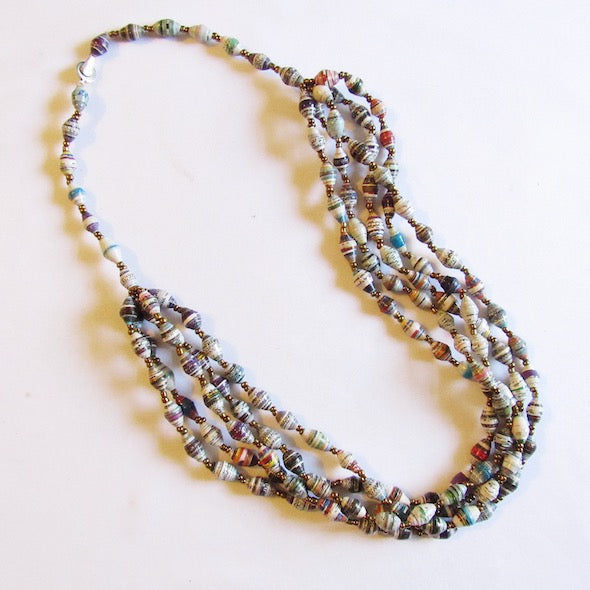 Necklace - White + Multicolored beads