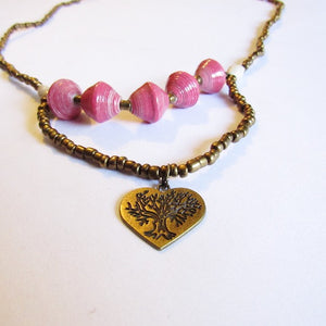 Necklace - Pink beads & Heart tag