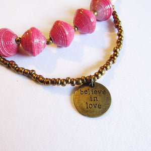 Necklace - Pink beads & 'Believe in love' tag