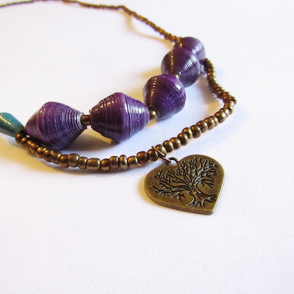 Necklace - Purple beads & Heart tag
