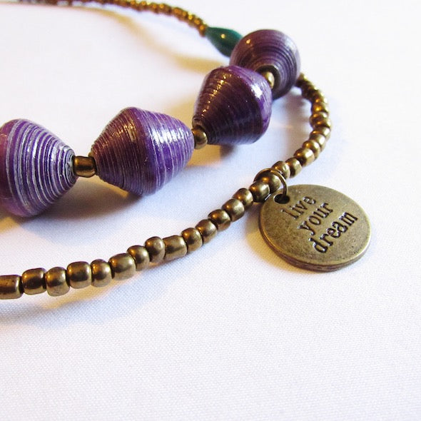 "Necklace - Purple beads & ""Live your dream"" tag"