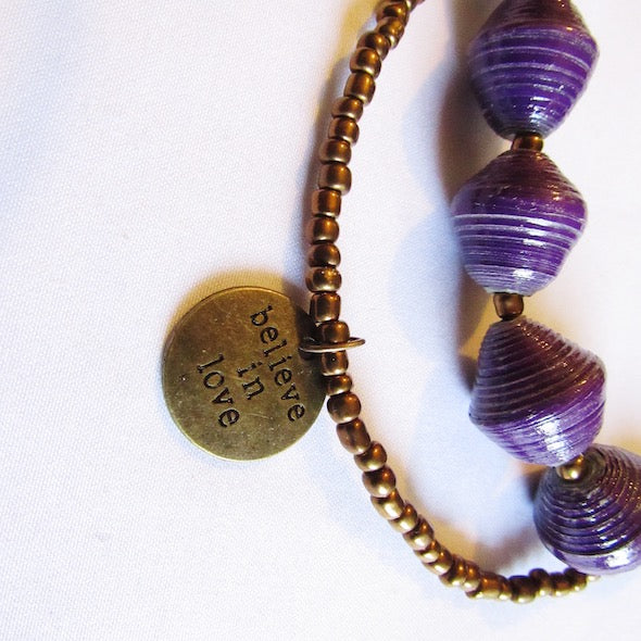 "Necklace - Purple beads & ""Believe in love"" tag"