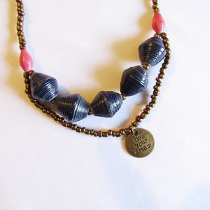"Necklace - Blue beads & ""Live your dream"" tag"