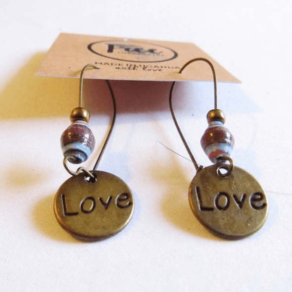 Earrings - Brown/Blue beads & Love tag