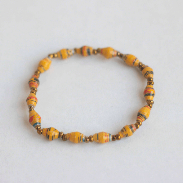 Single Bracelet - Dark orange with colored stripes
