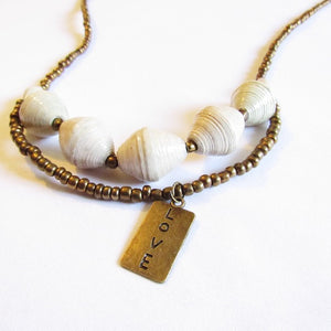 "Necklace - ""Love"" tag & White beads"