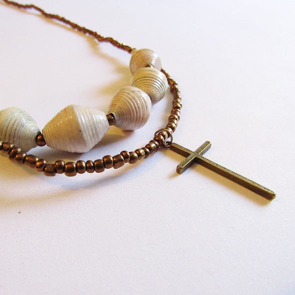 Necklace - White beads & Cross tag
