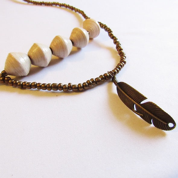 Necklace - White beads & Feather tag
