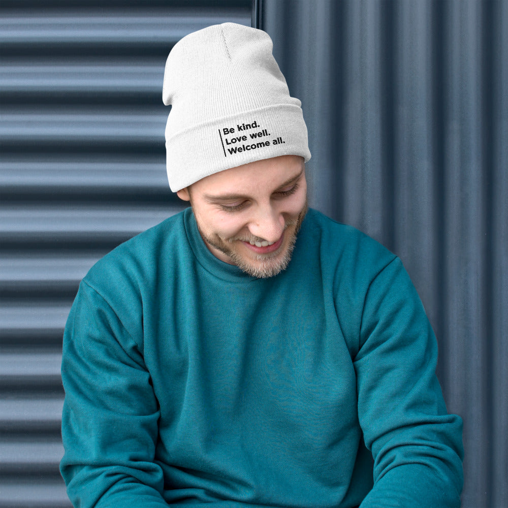"""Welcome all"" Embroidered Beanie"