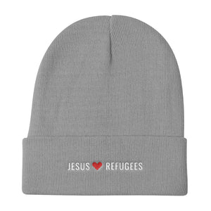 """Jesus Loves Refugees"" Knit Beanie"