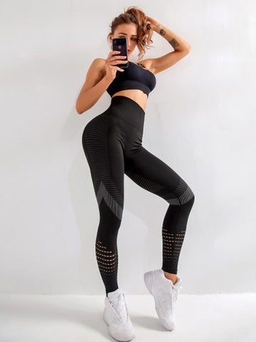 Compression High Waist Mesh Tights