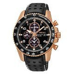 Seiko Solar Chronograph Black Dial Leather Strap Men's Watch SSC274