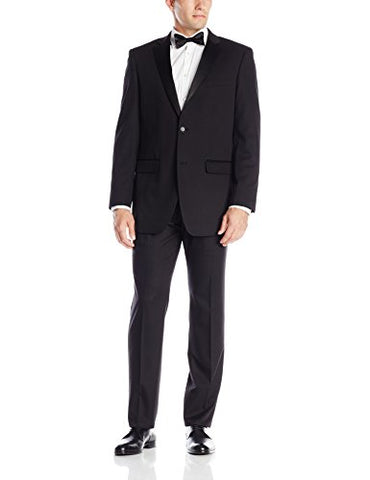 Perry Ellis Men's Two Button Slim Fit Tuxedo, Black, 48 Long