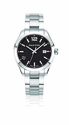 Philip Stein Men's 'Traveler' Swiss Quartz Stainless Steel Casual Watch, Color:Silver-Toned (Model: 92-CBK-SS)