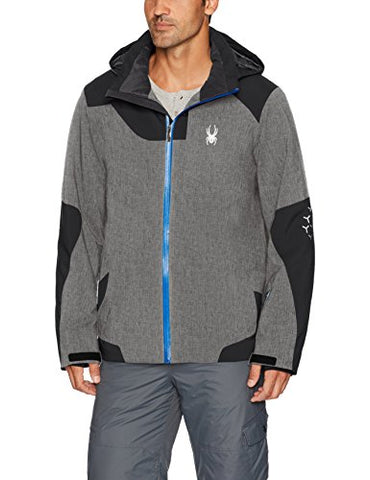 Spyder Men's Chambers Ski Jacket, Polar Herringbone/Black, XX-Large