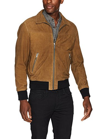 The Kooples Men's Suede Leather Jacket with Colored Bands, camo, M