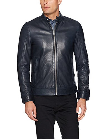 LAMARQUE Men's Maddox Moto Jacket, Navy, Large