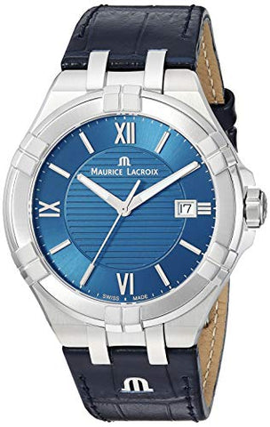 Maurice Lacroix Men's 'Aikon' Swiss Quartz Stainless Steel and Leather Watch, Color:Blue (Model: AI1008-SS001-430-1