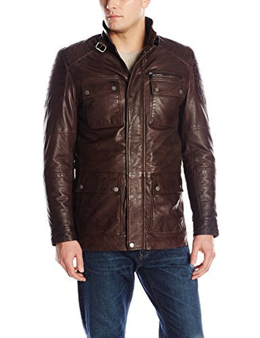 Boston Harbour Men's Lambskin Leather Field Coat, Chocolate, Large