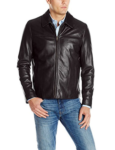 Cole Haan Men's Smooth Lamb Leather Shirt Collar Jacket, Black, Large