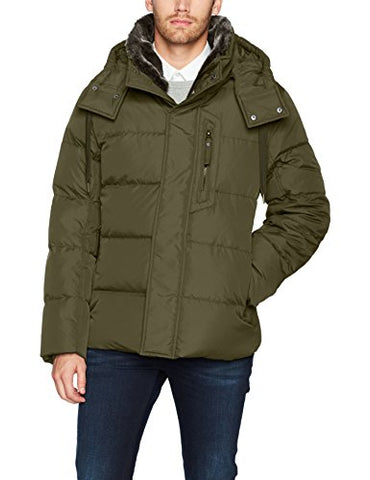 Marc New York By Andrew Marc Men's Baltic Mid Length Parka With Removable Faux Fur Collar, moss, Medium