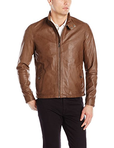 Cole Haan Men's Burnished Lamb Leather Jacket, British Tan, Large