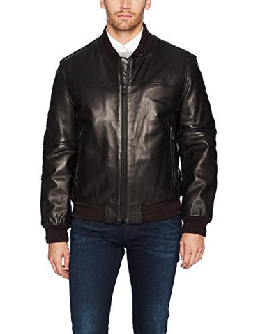 Marc New York by Andrew Marc Men's Summit Lambskin Leather Baseball Jacket, Black, Medium