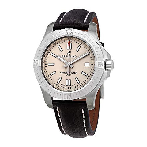 Breitling Chronomat Colt Automatic 41 Steel on Black Leather Men's Watch - A17313101G1X1