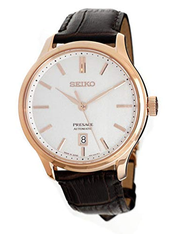 SEIKO Presage Rose Gold Silver Textured Dial Brown Leather Watch SRPD42J1
