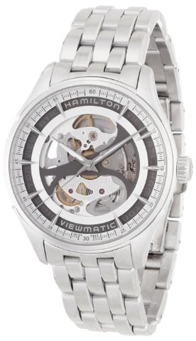 Hamilton Men's 'Jazzmaster' Swiss Automatic Stainless Steel Casual Watch, Color:Silver-Toned (Model: H42555151)