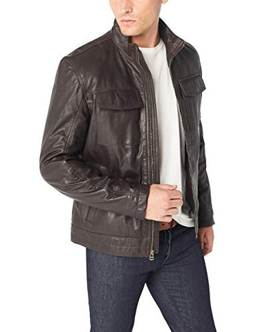 Cole Haan Men's Washed Leather Trucker Jacket, Brown, M