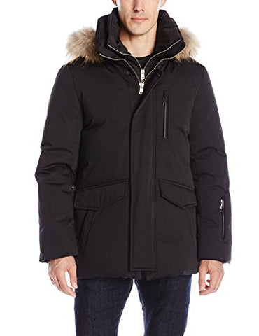 Soia & Kyo Men's Reuben Mid Length Down Jacket, Black, XX-Large