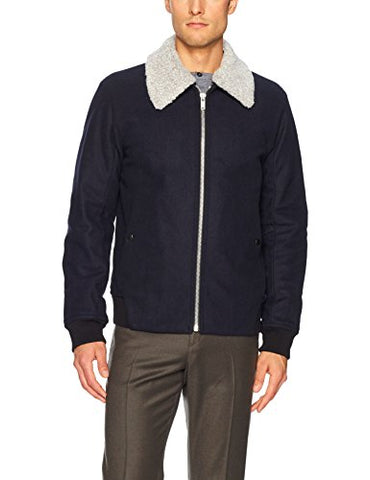 Theory Men's Woll Bomber Jacket with Removable Shearling Collar, Eclipse, M