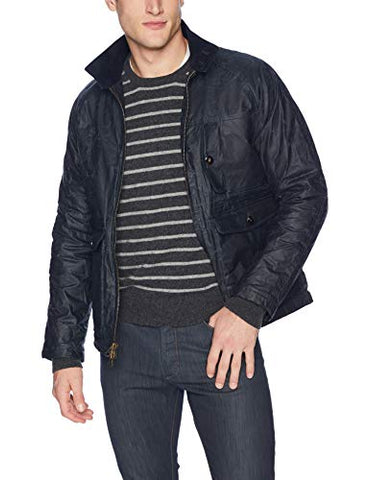 Billy Reid Men's Waxed Cotton Water Resistant Fully Lined Dempsey Jacket, Navy, S