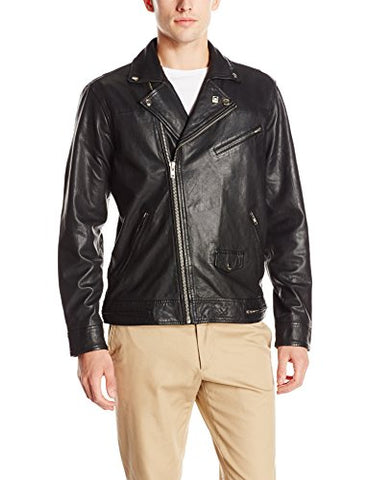 Obey Men's Bastards Leather Jacket, Black, Medium