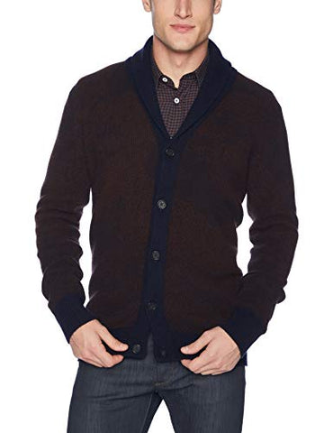 Billy Reid Men's Long Sleeve Shawl Collar Cardigan Sweater, Navy/Rust Peacock, S