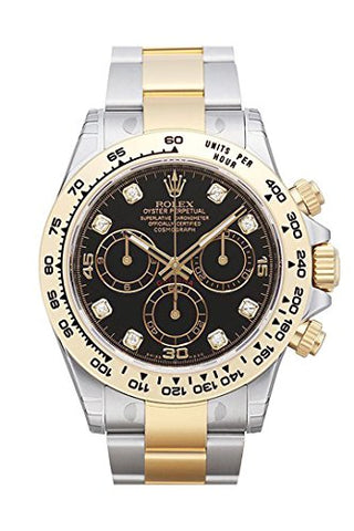 Rolex Cosmograph Daytona Black Diamond Dial Steel 18K Yellow Gold Men's Watch 116503