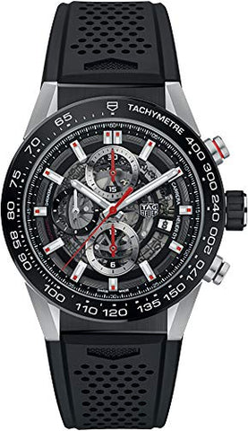 TAG Heuer Carrera Men's Watch Skeleton Dial w/ Black Rubber Strap CAR201V.FT6046