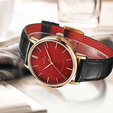 Swiss Made Marvin Automatic Men Watches with Smokey Red Sunray Dial and Black Leather Strap