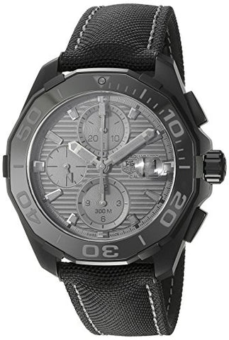 TAG Heuer Men's 'Aquaracracer' Swiss Automatic Titanium and Canvas Dress Watch, Color:Black (Model: CAY218B.FC6370)