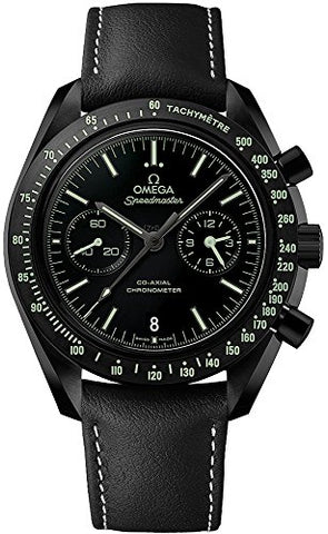 Omega Speedmaster Moonwatch Pitch Black Ceramic on Leather Strap Ref 311.92.44.51.01.004