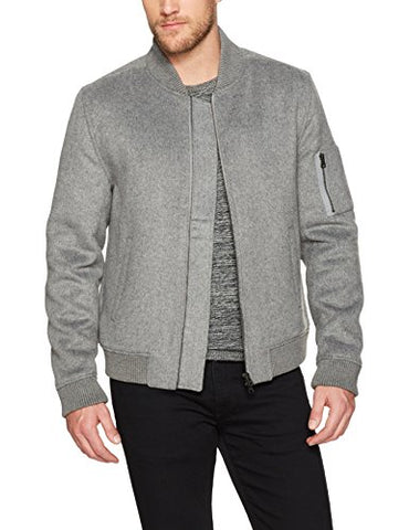 PAIGE Men's Eckhart Wool Bomber Jacket, Stone Harbor, S