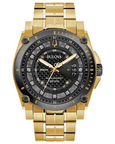 Men's Bulova Precisionist Diamond Gold-Tone Stainless Steel Watch 98D156