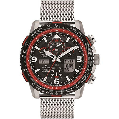 Citizen Promaster Skyhawk A-T JY8079-76E Mens Silver Stainless Steel Bracelet Band Black Dial Watch